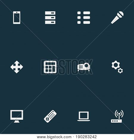 Vector Illustration Set Of Simple Gadget Icons. Elements Adding Device, Schedule, Controller And Other Synonyms Display, Show And Computer.