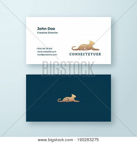 Lying Lioness Abstract Minimal Vector Sign, Symbol or Logo and Business Card Template. Premium Stationary Realistic Illustration. Modern Typography and Soft Shadows. Isolated.