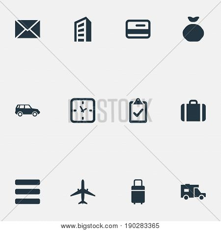 Vector Illustration Set Of Simple Delivery Icons. Elements Baggage, Online Transaction, Checklist And Other Synonyms Pouch, Travel And Checklist.