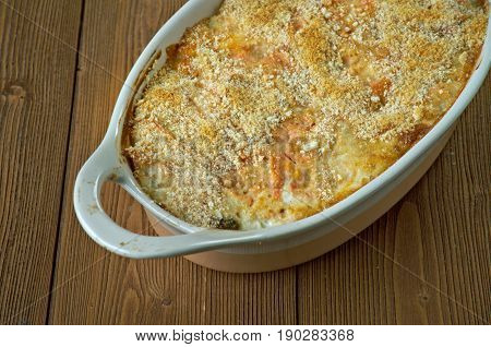 Garlic Cheddar Chicken Bake. close up cookery,