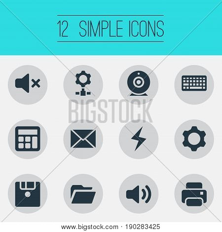 Vector Illustration Set Of Simple Device Icons. Elements Knob, Printing Machine, Floppy Disk And Other Synonyms Web, Mute And Bolt.