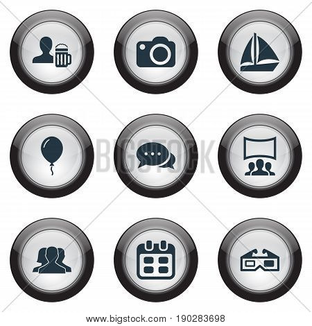 Vector Illustration Set Of Simple Banquet Icons. Elements 3D, Audience, Photo Apparatus And Other Synonyms Cake, Sailboat And Yachting.