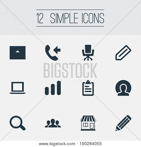 Vector Illustration Set Of Simple Company Icons. Elements Report, Connection, Team And Other Synonyms Store, Scrutiny And Report.