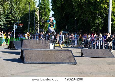 Aggressive Rollerblading Competition. Public Event