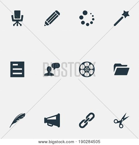 Vector Illustration Set Of Simple Web Icons. Elements Bullhorn, Cut, Documents And Other Synonyms Mind, Advertising And Progress.