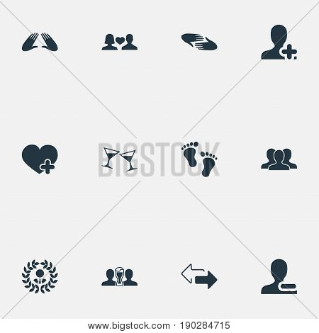 Vector Illustration Set Of Simple Fellows Icons. Elements Beer, Add Friend, Crowd And Other Synonyms Love, Medal And Remove.