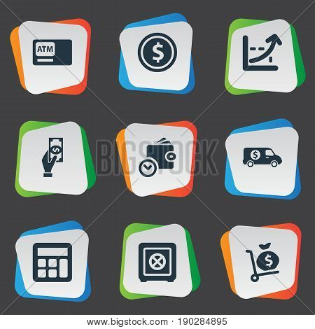 Vector Illustration Set Of Simple Banking Icons. Elements Accounting, Atm, Secure Box And Other Synonyms Payment, Purse And Increase.