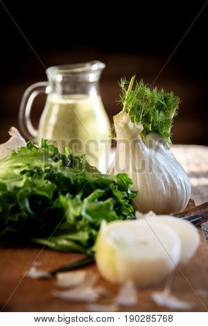 Green Smoothie, Fennel, Onion, Lettuce On A Kitchen Table, Rustic