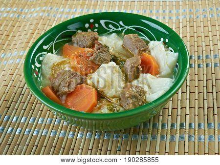 kullama - Bashkir traditional dish. close up.