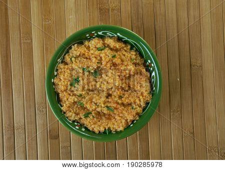 Jireesh - Kuwaiti cracked wheat soup. close up