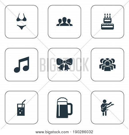 Vector Illustration Set Of Simple Party Icons. Elements Birthday Pie, Carbonated Drink, Team And Other Synonyms Guitarist, Celebration And Company.