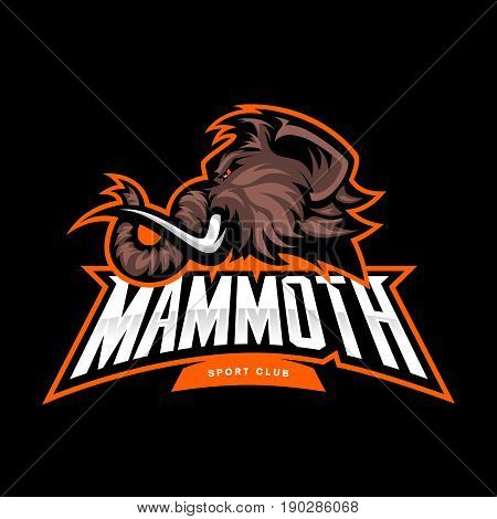 Furious woolly mammoth head sport vector logo concept isolated on black background. Modern professional mascot team badge design. Premium quality wild animal t-shirt tee print illustration.