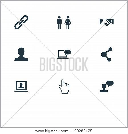 Vector Illustration Set Of Simple Internet Icons. Elements Agreement, Chain, Profile And Other Synonyms Internet, Personal And Inbox.