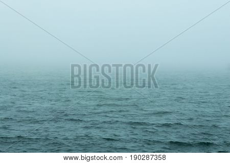 Choppy water on foggy spring morning on Buzzards Bay