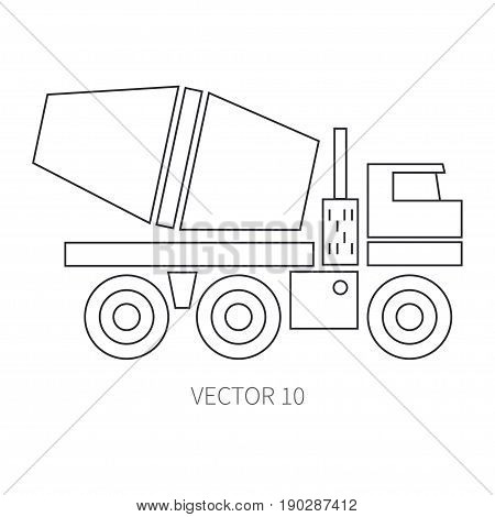 Line flat vector icon construction machinery cement mixer. Industrial style. Construction machinery. Building. Business. Engineering. Diesel. Power. Illustration texture for design, wallpaper