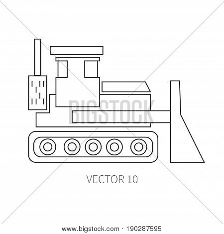 Line flat vector icon construction machinery - bulldozer. Industrial style. Road. Construction machinery. Building. Business. Engineering. Diesel. Power Illustration texture for design wallpaper