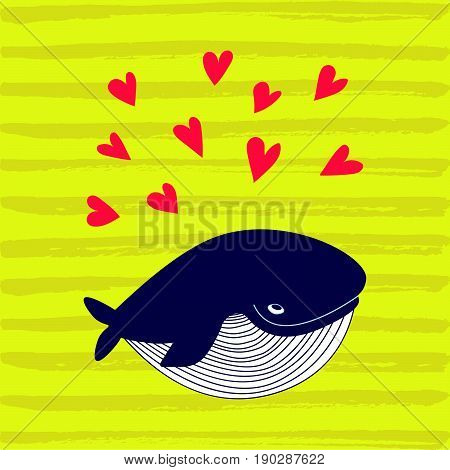 Cartoon whale vector card with hearts..Cute happy ocean whale. Lovely childish card. Smiling whale. Whale in love..Greeting card with a whale. Valentines day background