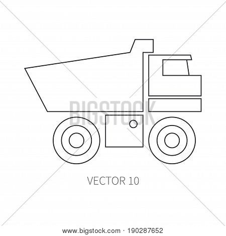 Line flat vector icon construction machinery - truck. Industrial style. Road. Construction machinery. Building. Business. Engineering. Diesel. Power Illustration texture for design wallpaper