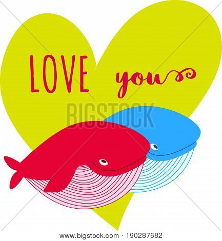 Cartoon Whale Vector Card