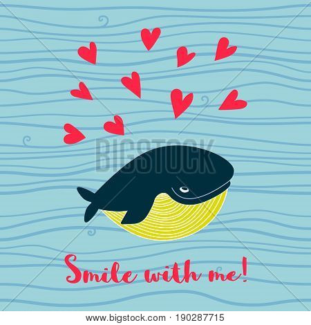Cute Whale With Hearts