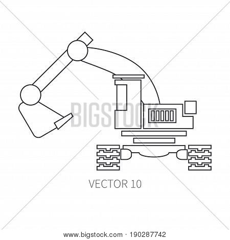 Line flat vector icon construction machinery excavator. Industrial style. Road. Construction machinery. Building. Business. Engineering. Diesel. Power Illustration texture for design wallpaper