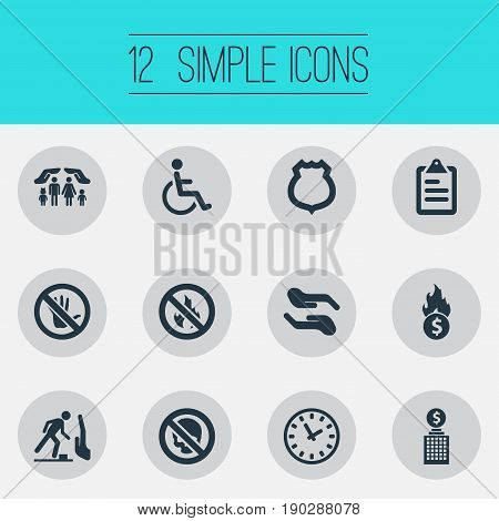 Vector Illustration Set Of Simple Insurance Icons. Elements Bankroll, No Blaze, Building And Other Synonyms Round, Skull And Poison.