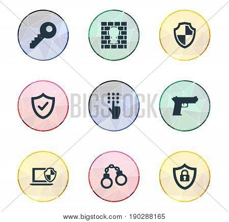 Vector Illustration Set Of Simple Secure Icons. Elements Approve, Pistol, Handcuff Synonyms Safeguard, Convict And Key.