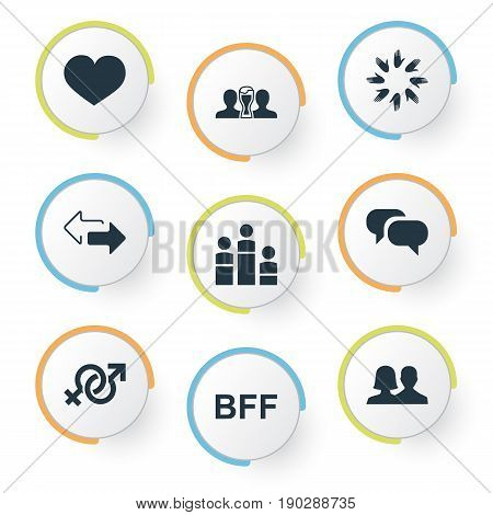 Vector Illustration Set Of Simple  Icons. Elements Beer, Unity, Bff And Other Synonyms Symbol, Arrows And Love.