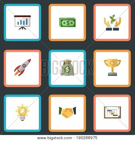 Flat Icons Income, Schedule, Agreement And Other Vector Elements. Set Of Startup Flat Icons Symbols Also Includes Run, Cash, Prompting Objects.