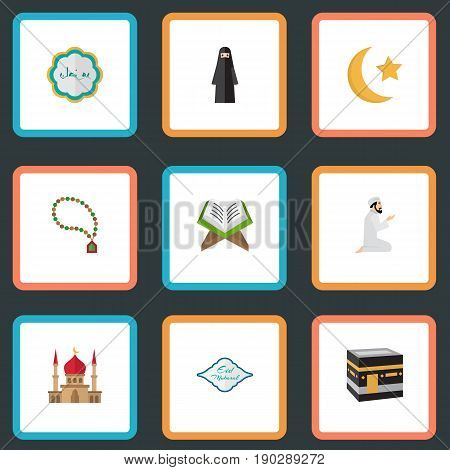 Flat Icons Bead, Mecca, New Lunar And Other Vector Elements. Set Of Religion Flat Icons Symbols Also Includes Building, Man, Praying Objects.