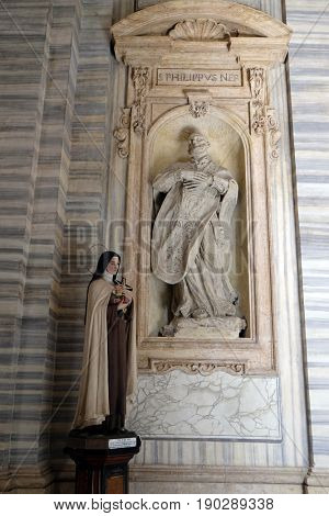 ROME, ITALY - SEPTEMBER 02: St. Teresa and Philip Neri in Basilica dei Santi Ambrogio e Carlo al Corso, Rome, Italy on September 02, 2016.