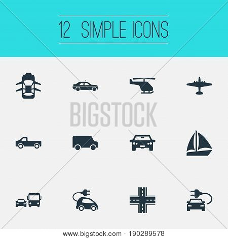 Vector Illustration Set Of Simple Transport Icons. Elements Aero, Electric Vehicle, Hybrid Auto And Other Synonyms Ecological, Electric And Chopper.