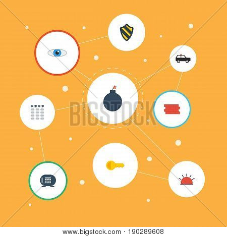 Flat Icons Armored Car, Shield, Safe And Other Vector Elements. Set Of Security Flat Icons Symbols Also Includes Car, Clue, Vision Objects.