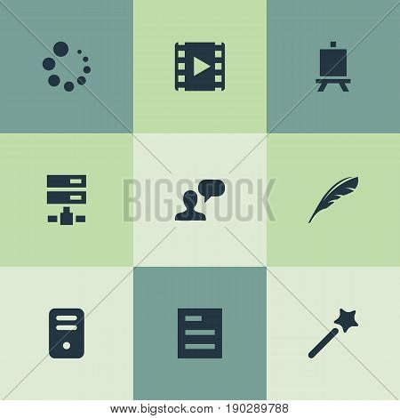 Vector Illustration Set Of Simple UI Icons. Elements Blueprint, Poetry, Wizard Stick And Other Synonyms Magician, Painting And Text.