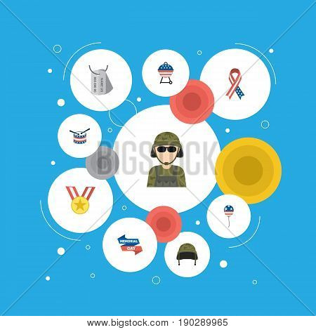 Flat Icons Medallion, Identity, Decoration And Other Vector Elements. Set Of History Flat Icons Symbols Also Includes Balloon, Banner, Day Objects.