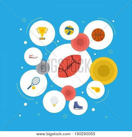 Flat Icons Golf, Basket, Volleyball And Other Vector Elements. Set Of Sport Flat Icons Symbols Also Includes Whistle, Trekking, Referee Objects.