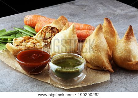 Indian Special Traditional Street Food Punjabi Samosa Or Coxinha, Croquete And Other Fried Brazilian