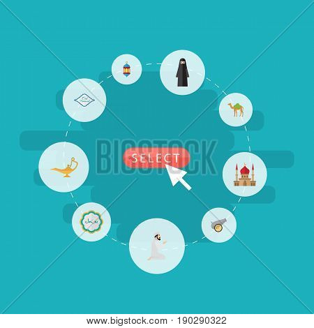 Flat Icons Muslim Woman, Decorative, Praying Man And Other Vector Elements. Set Of Ramadan Flat Icons Symbols Also Includes Genie, Islamic, Building Objects.