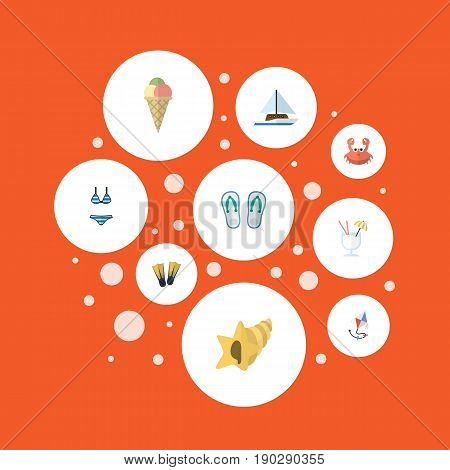 Flat Icons Sorbet, Drink, Cancer And Other Vector Elements. Set Of Summer Flat Icons Symbols Also Includes Yacht, Sail, Bikini Objects.