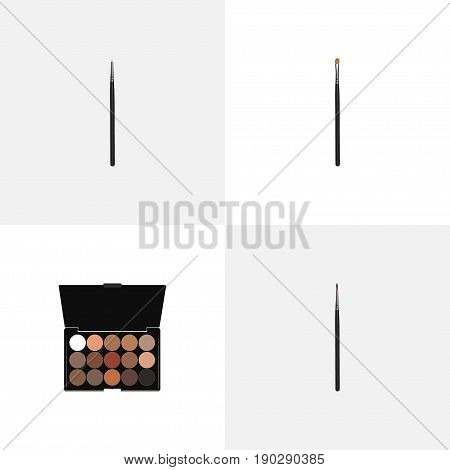 Realistic Cosmetic Stick, Brow Makeup Tool, Multicolored Palette And Other Vector Elements. Set Of Maquillage Realistic Symbols Also Includes Lips, Stick, Brow Objects.