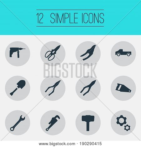 Vector Illustration Set Of Simple Industrial Icons. Elements Wrench, Mechanic Key, Pruning Shears And Other Synonyms Carpentry, Adjustable And Electric.