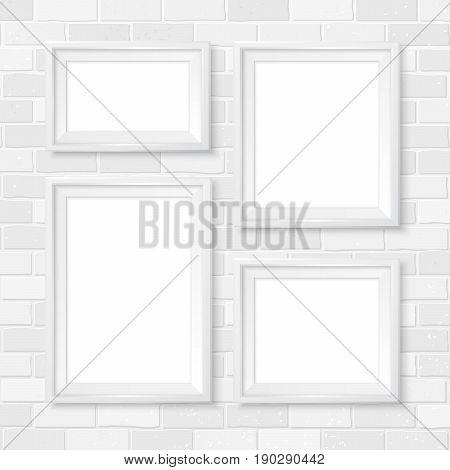 Frames Wall Gallery Mockup White Brick Wall 3