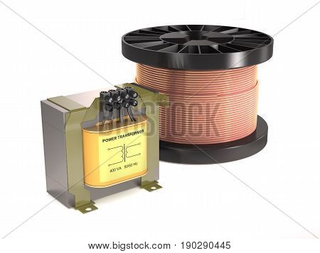Electrical transformer coil wire on white background.