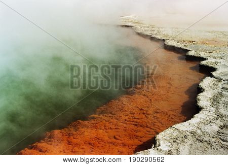 Picture of Champagne pool, a hot spring in Waiotapu geothermal area  in the  North Island of New Zealand.