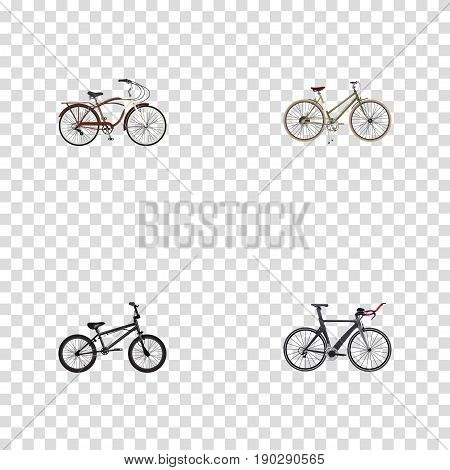 Realistic Competition Bicycle, Journey Bike, For Girl And Other Vector Elements. Set Of Bike Realistic Symbols Also Includes Triathlon, Girl, Cruise Objects.