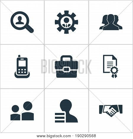 Vector Illustration Set Of Simple Human Icons. Elements Award, Telephone, Partnership And Other Synonyms Handshake, Communication And Subordination.