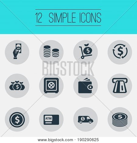 Vector Illustration Set Of Simple Bill Icons. Elements Bank Truck, Terminal, Secure Box And Other Synonyms Full, Trolley And Box.
