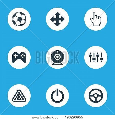 Vector Illustration Set Of Simple Play Icons. Elements Balls, Racing, Camera And Other Synonyms Cue, Joystick And Equalizer.