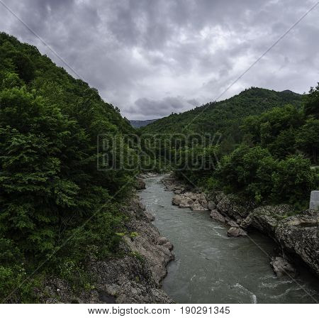 Caucasus White mountain river summer cloudy landscape wallpaper. Region Russia Krasnodar 23, Adygea 01