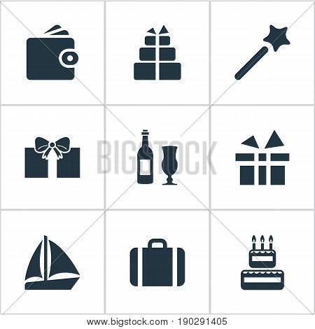 Vector Illustration Set Of Simple Festal Icons. Elements Boat, Wand, Wine Synonyms Vacation, Magic And Glass.